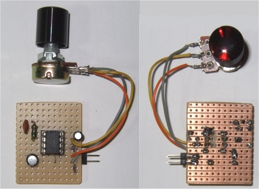 ddsgeneratorfig 1 attiny45 test board top and bottom view and schematic