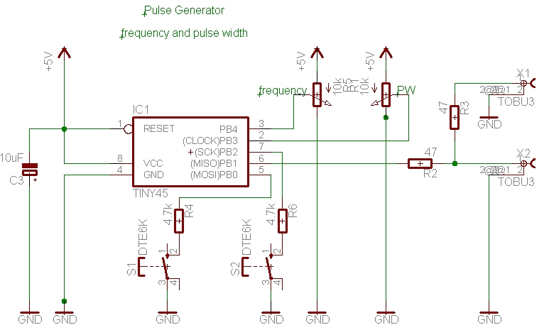 Pulsgenerator the circuit diagram low parts count 2 potentiometers 2 pushbuttons 1 c and some resistors cheapraybanclubmaster Images