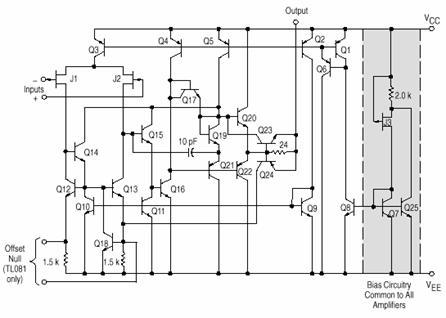 Ein typischer Vertreter ist der TL081 (einfach) bzw. der TL082 (zweifach) oder der...